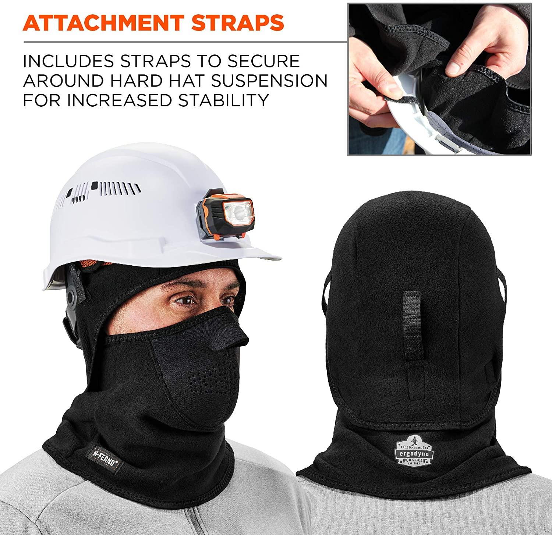 Balaclava, Neoprene Winter Face Mask, Detachable Top and Bottom, Straps To Attach To Hard Hat, Ergodyne N-Ferno 6827,Black