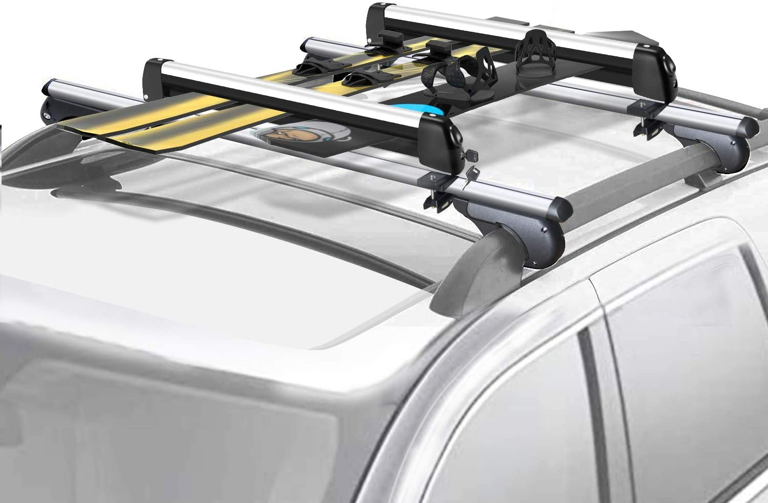 FIVKLEMNZ 31 Aluminum Universal Ski & Snowboard Roof Rack, Ski Board Roof Carrier, Fits for Most Vehicles Equipped Crossbars, Fits Up to 6 Pairs Skis or 4 Snowboards
