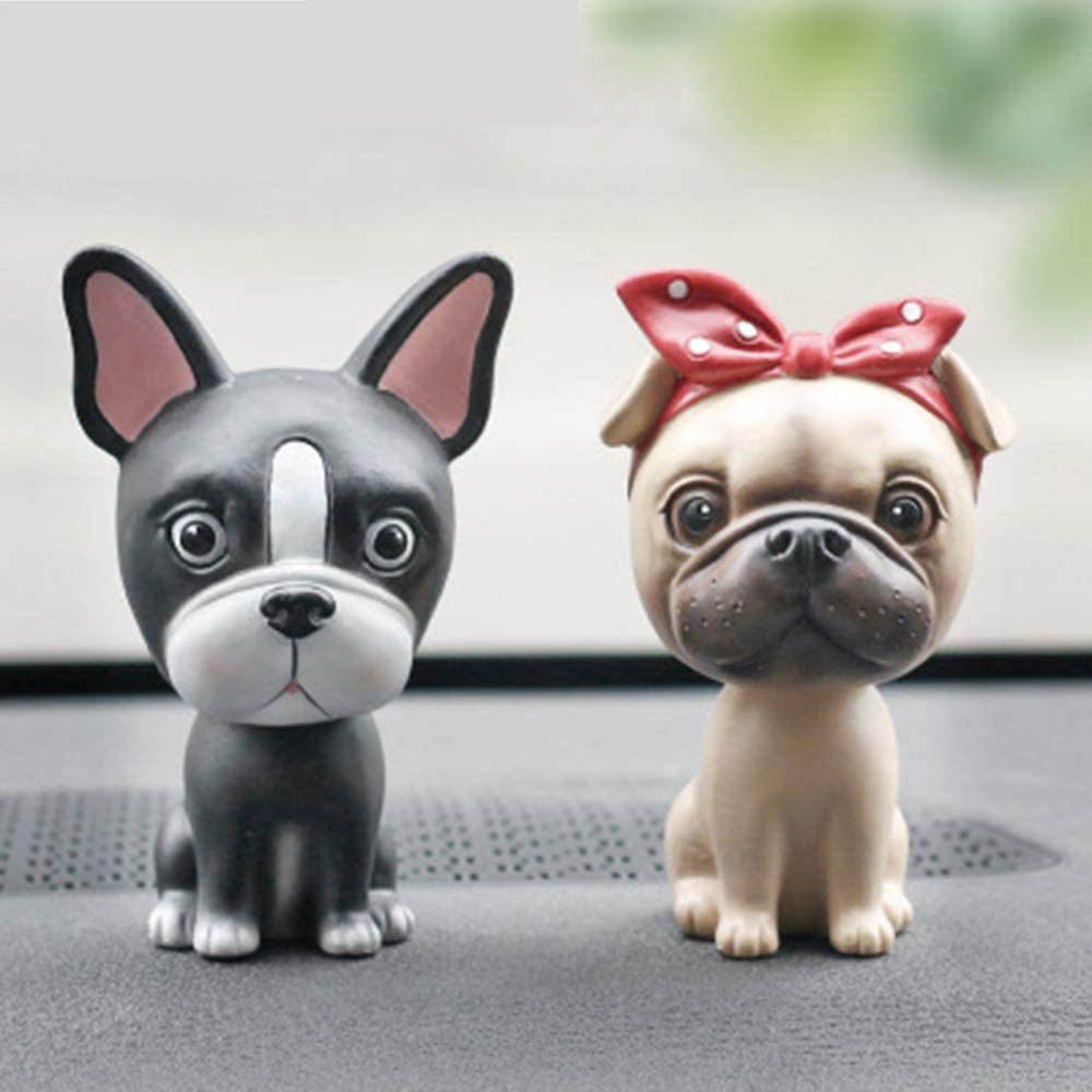 L.DONG Bobbleheads Dog Bulldog, Cute Car Dashboard Bobble Head Boston Terrier Decoration, Animal Resin Ornament Puppy Shaking Head Toys for Car Vehicle Automobile Decor