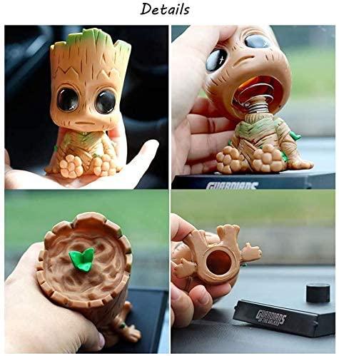 MATECam Cartoon Groot Car Dashboard Bobblehead Doll Cute Car Accessories, Anime Groot Hero Bobblehead Mobile Phone Holder Car Decorations