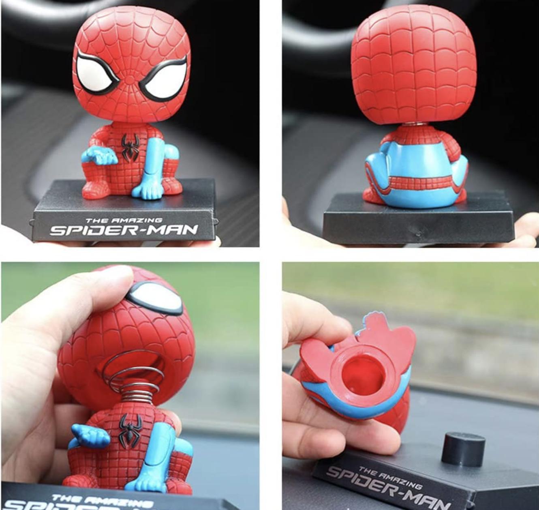 Amazing Spiderman Dashboard Toys Bobblehead Car Interior Accessories Spiderman, Big Hero Spiderman Car Doll Cute Car Accessories, Silicone Bobble Head Spiderman For Car Dashboard Toys Phone Holder
