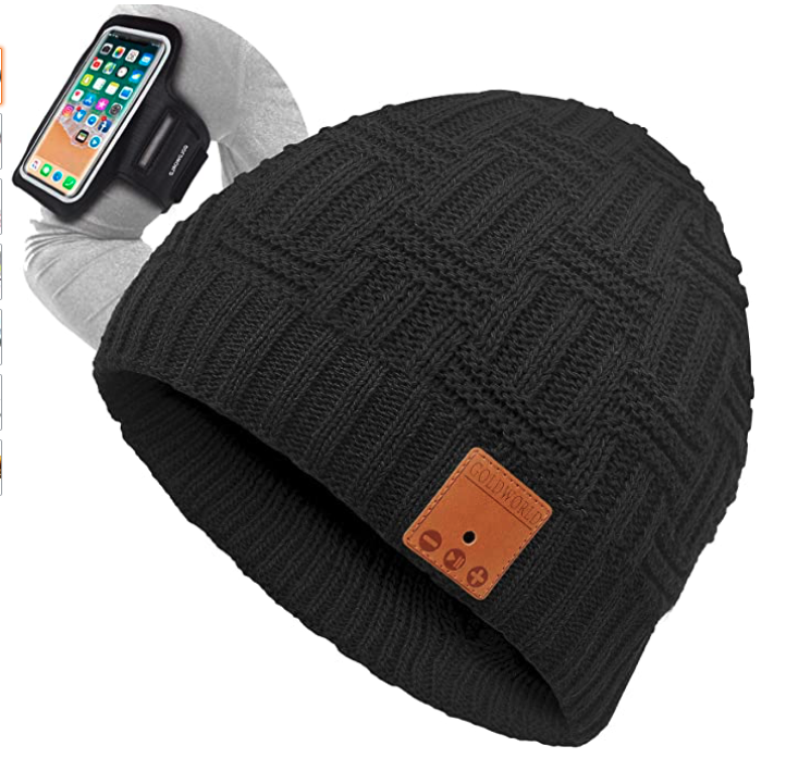 Bluetooth Beanie,Bluetooth Hat,Bluetooth Beanie Hat w/Running Armband,Unique Stocking Stuffers for Women Mom Mother Teen Girls Her Wife Girlfriend Husband for Men Dad Boy Him Friends