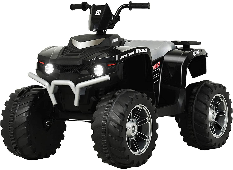 Uenjoy 12V Kids Electric 4-Wheeler ATV Quad Ride On Car Toy w/ 3.7mph Max Speed, Treaded Tires, LED Headlights, Music, Radio, Bluetooth, USB (Black)