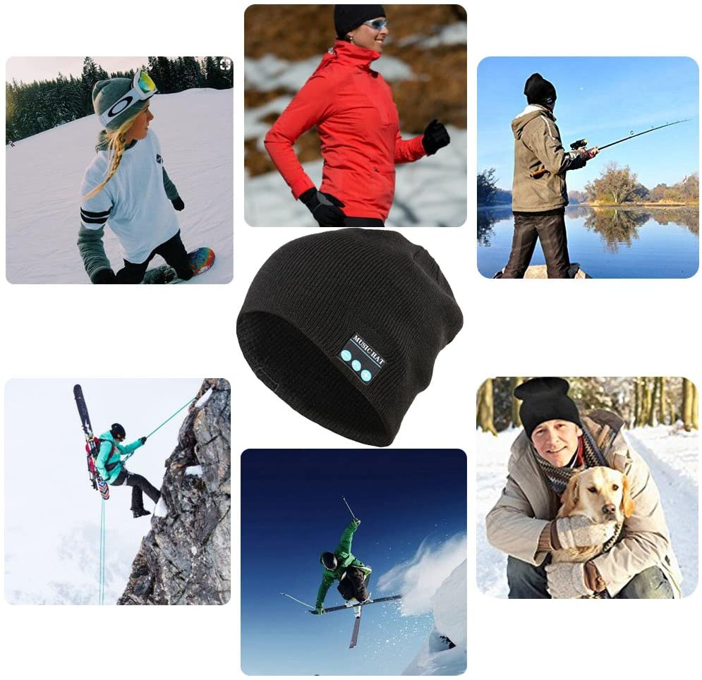 Wireless Bluetooth Beanie,Unisex Outdoor Sport Knit Hat with Stereo Speakers & Microphone
