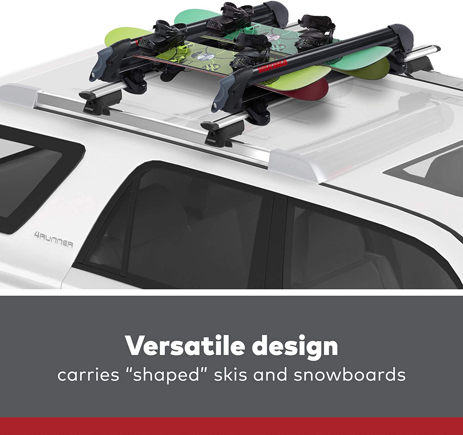 YAKIMA - PowderHound 6 Ski & Snowboard Mount, Fits Up to 6 Pairs of Skis or 4 Snowboards, Rides Quietly, Fits Most Roof Racks, Black