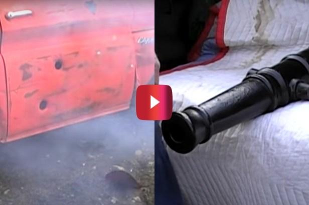 Cannon Shoots Golf Ball Through Chevy Truck Door