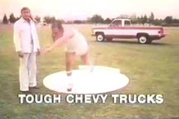 Man Throws Shot Put at '77 Chevy Truck in Classic Ad