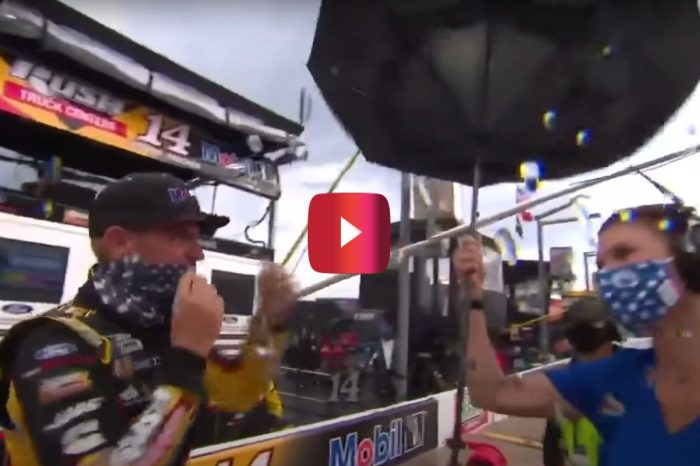 Clint Bowyer Accidentally Broke a Reporter's Umbrella During This Charlotte Rain Delay
