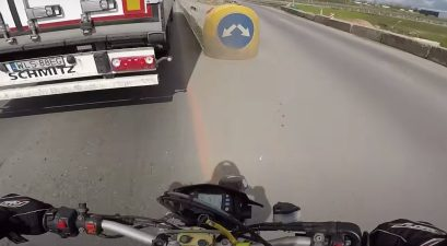 motorcycle crashes into barrier