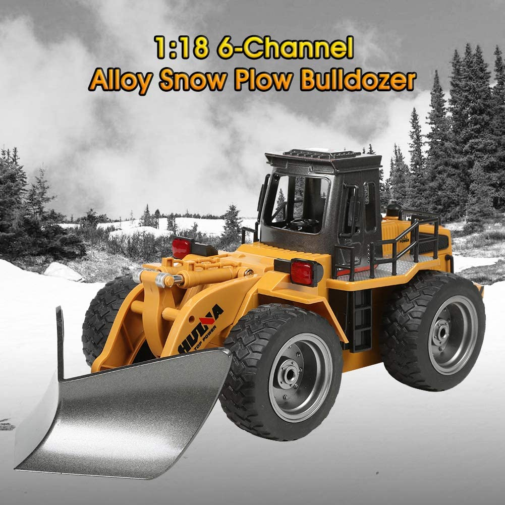 Konren Remote Control 1:18 Diecast Snow Plow 2.4G RC Bulldozer 6-Channel 4WD Alloy Snow Sweeper Engineering Toy Vehicle for Kids