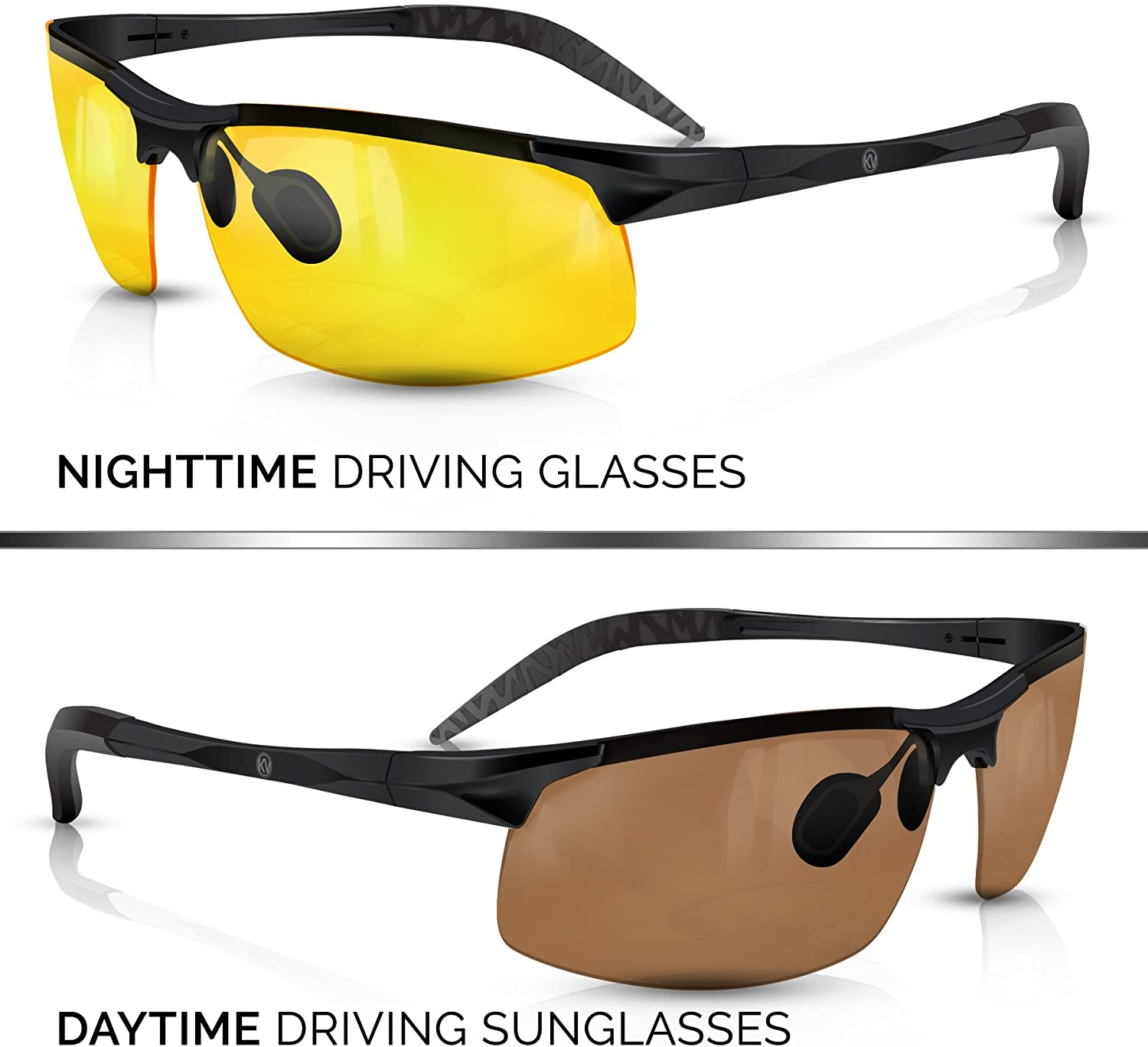BLUPOND Set of 2 Anti-Glare HD Lens Clear Vision Sunglasses - Daytime Polarized Copper and Yellow Tint Night Driving Glasses with CAR Clip Holder - Knight Visor
