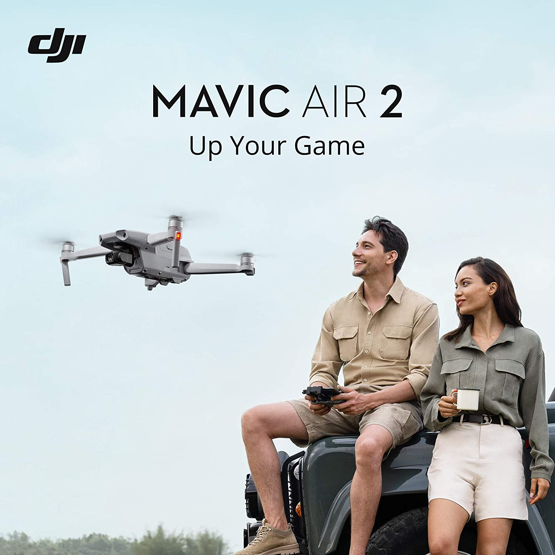 "DJI Mavic Air 2 Fly More Combo & Auto-Activated DJI Care Refresh Bundle-Drone Quadcopter UAV with 48MP Camera 4K Video 1/2"" CMOS Sensor 3-Axis Gimbal 34min Flight Time ActiveTrack 3.0, Gray"