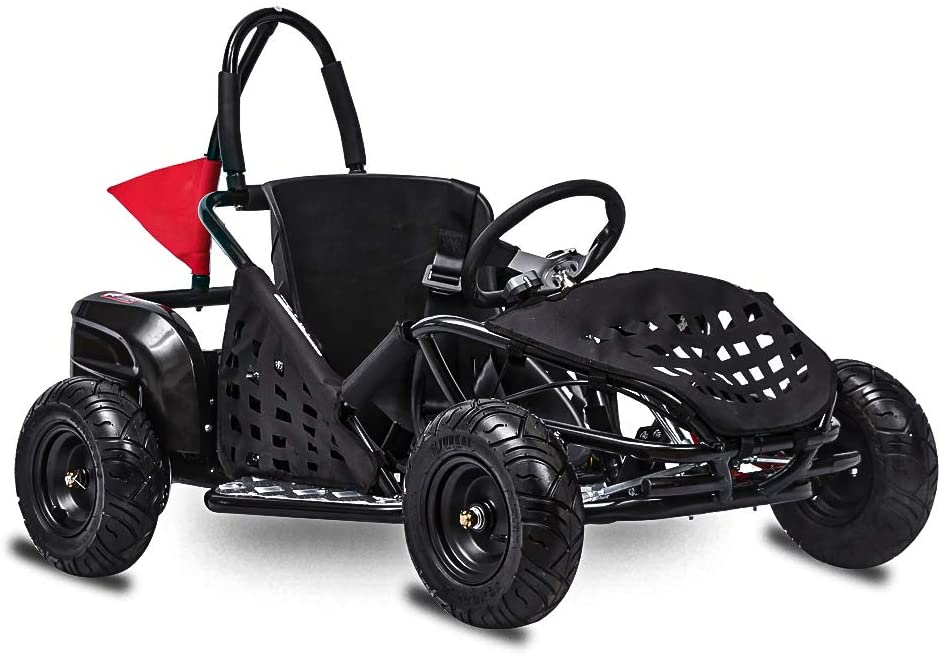 FIT Right 2020 Baja-X 48 Volt 1000 Watt Brushless Electric Go Kart, 3 Speeds Setting Up to 20 mph with Forward and Reverse. Racing Go Cart for Kids with Foot Pedal and Foot Break.