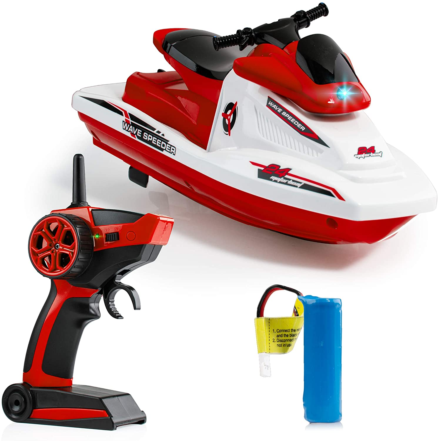 Force1 Wave Speeder RC Boat - Remote Control Boat for Pools and Lakes for Kids and Adults, Long Range Radio Controlled Motor Boat with Waverunner USB Charging Cable and 2.4GHz Remote Control (Red)
