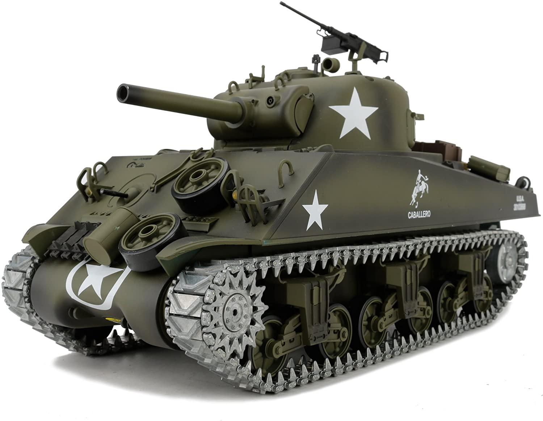 Modified TK6.0 Edition 1/16 2.4ghz Remote Control US M4A3 Sherman Tank Model(360-Degree Rotating Turret)(Steel Gear Gearbox)(3800mah Battery)(Metal Tracks &Sprocket Wheel & Idle Wheel)