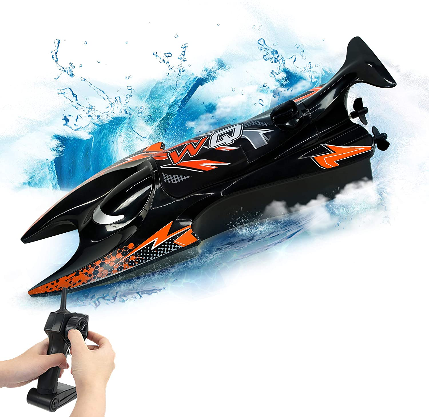 RC Boat Toy 2.4Hz Remote Control Speed Boat Dual Motors Self-Righting Racing Boat 15KM/H RC Ship Speedboat Toys for Adult & Kids