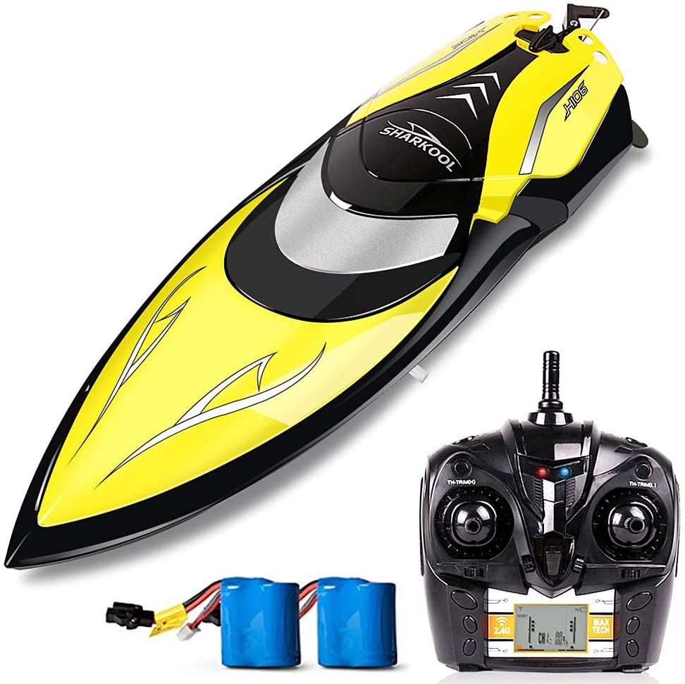 Remote Control Boats - SHARKOOL H106 Rc Self Righting Racing Boats for Boys & Girls, 2.4Ghz High Speed Remote Control Boat Toys for Kid(Yellow)