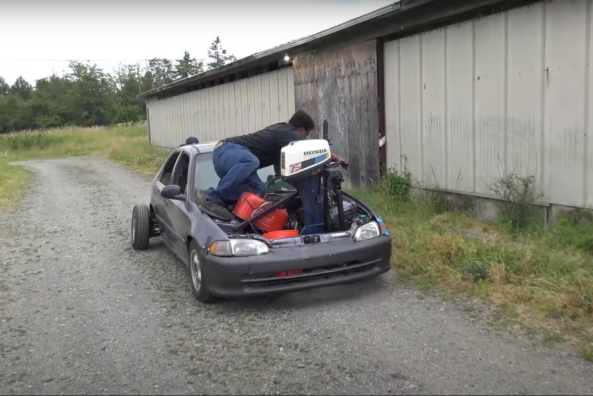 boat motor swap in car