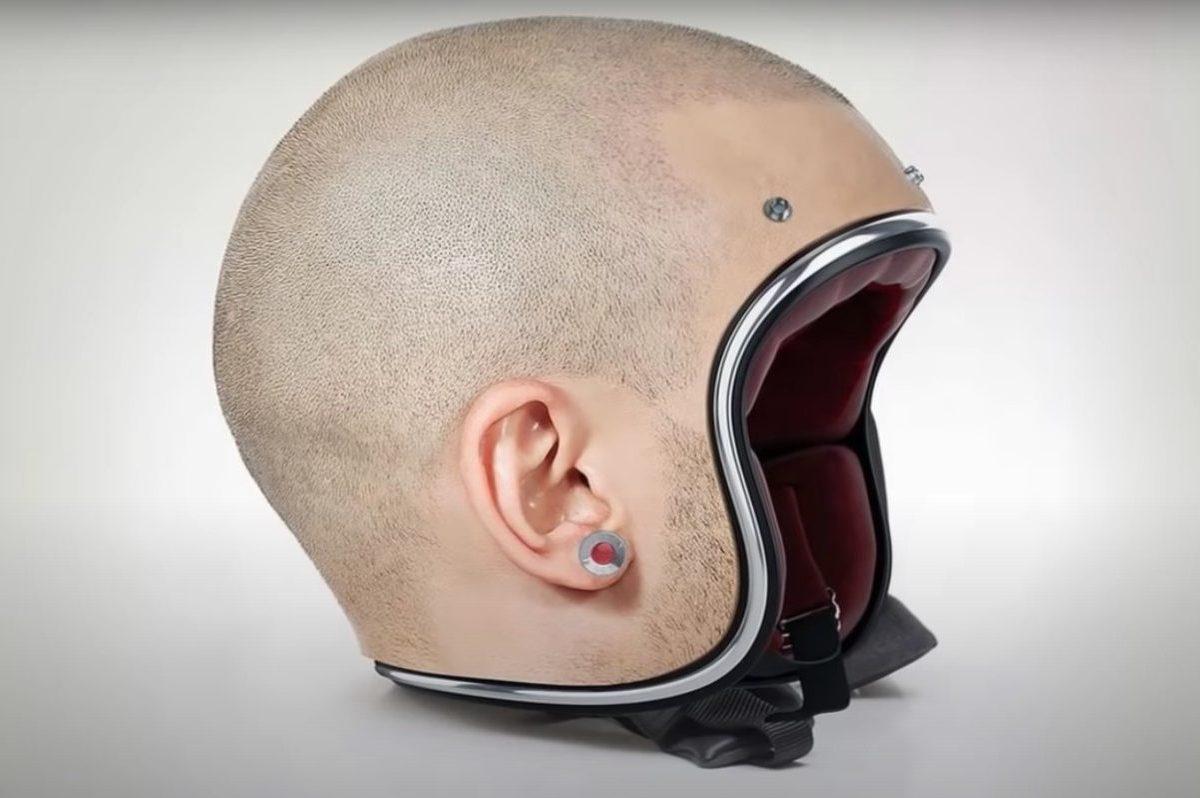 human head motorcycle helmet