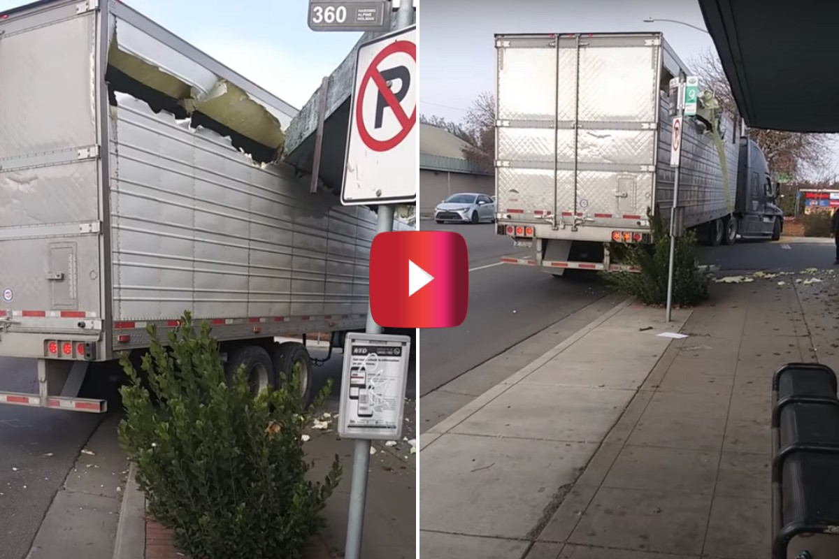 semi truck trailer cut up by awning