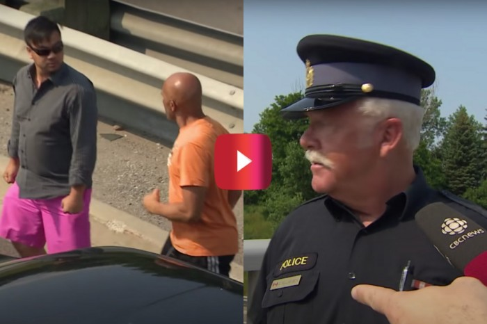 Cop Breaks Up Road Rage Fight While Giving a TV Interview
