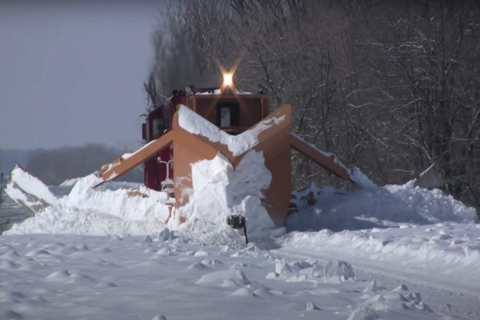 Train With Giant Snow Plow Clears Tracks in Minnesota