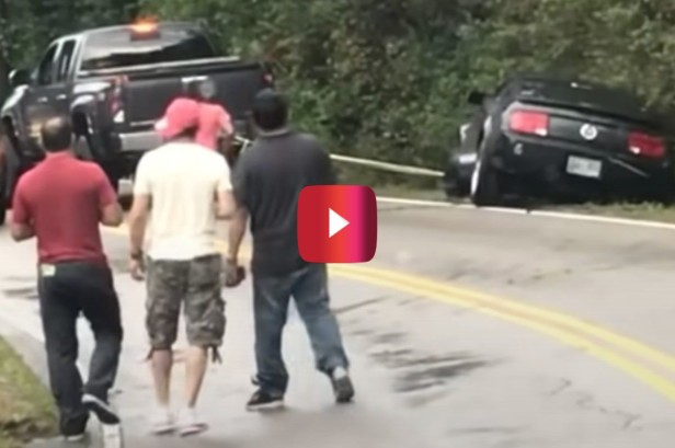 Truck Rescues a Ford Mustang, But Then Tows It Right Into a Ditch
