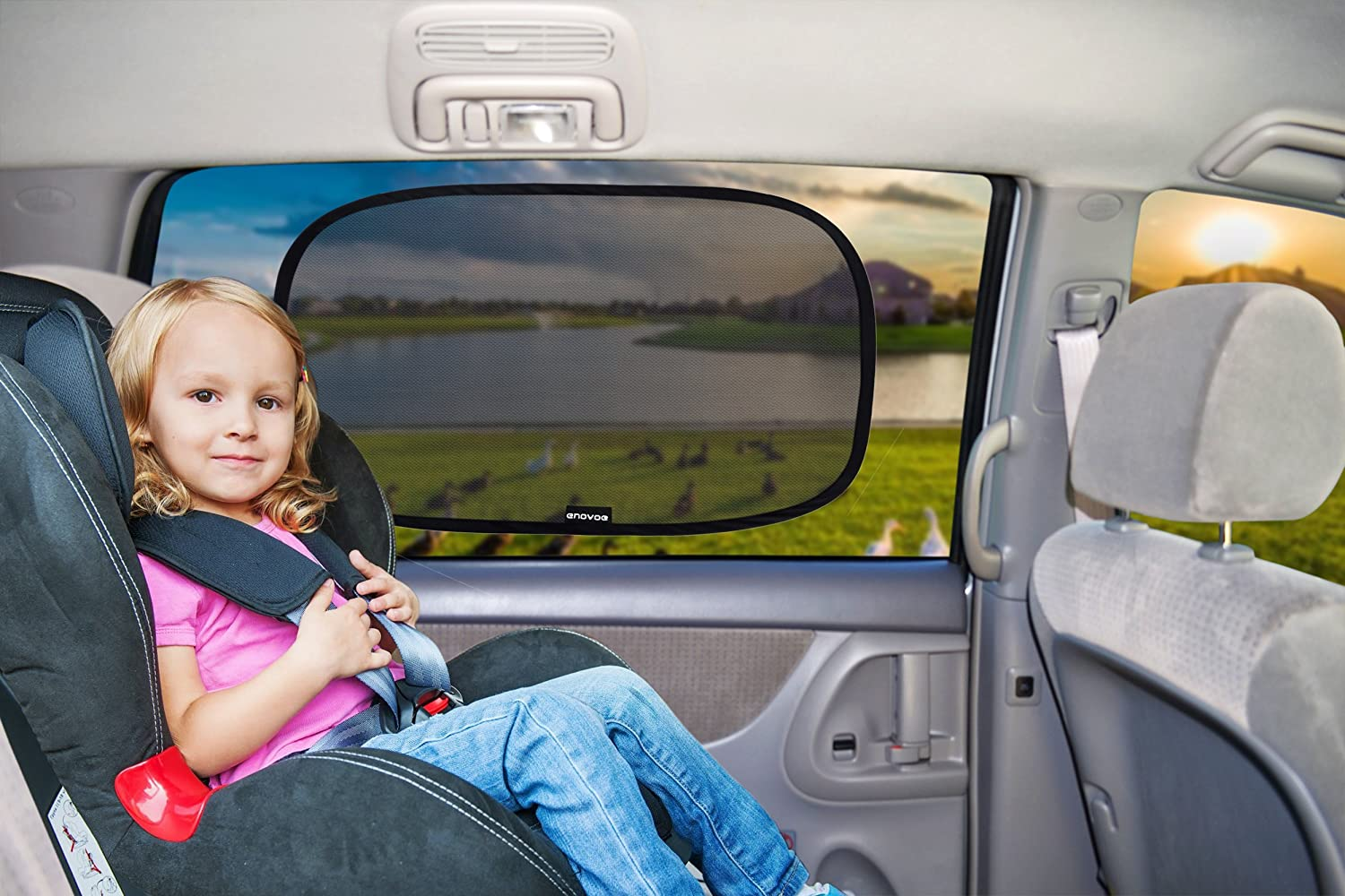 """Enovoe Car Window Shade - (2 Pack) - XL - 25"""" x 16"""" - Cling Car Sun Shade for Windows - Sun, Glare and UV Rays Protection for Your Child - Baby Car Shades for Side Window"""