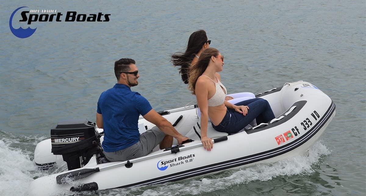 Inflatable Sport Boats Shark 9.8' - Model SB-300-2020 Model - Aluminum Floor Premium Heat Welded Dinghy with Seat Bag