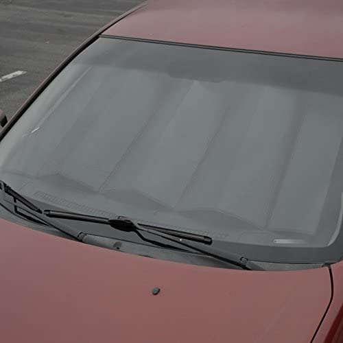 Motor Trend Front Windshield Sun Shade - Jumbo Accordion Folding Auto Sunshade for Car Truck SUV - Blocks UV Rays Sun Visor Protector - Keeps Your Vehicle Cool - 66 x 27 Inch (Black)