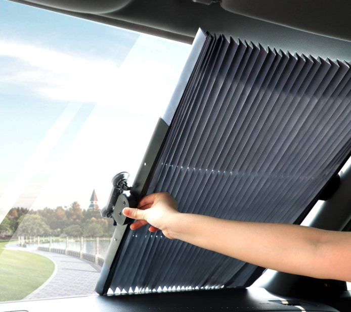 TWING Car Windshield Retractable Sun Shade Car Front Window Sunshades Sun Visor Protector Blocks 99% UV Rays and Keeps Your Vehicle Cool for Most Sedans SUV Truck (Universal Fit) (1 Pack-Retractable)