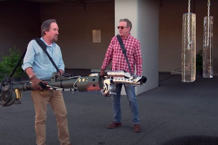 """Tim Allen and Richard Karn Test Fire-Breathing Leaf Blowers on """"Assembly Required"""""""