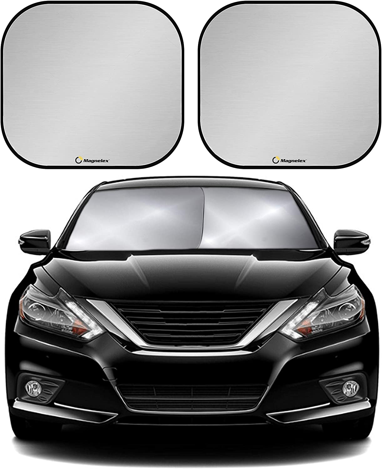 Windshield Sun Shade with Bonus 2 Pack Cling Sunshades. 210T Reflective Fabric Blocks Sun and Keeps Your Vehicle Cool. Foldable Sun Shield for Car Windshield. Windshield Sunshade (Universal Fit)