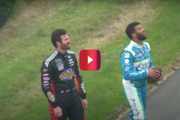 Bubba Wallace and Corey LaJoie Toss Football With Fans During Rain Delay