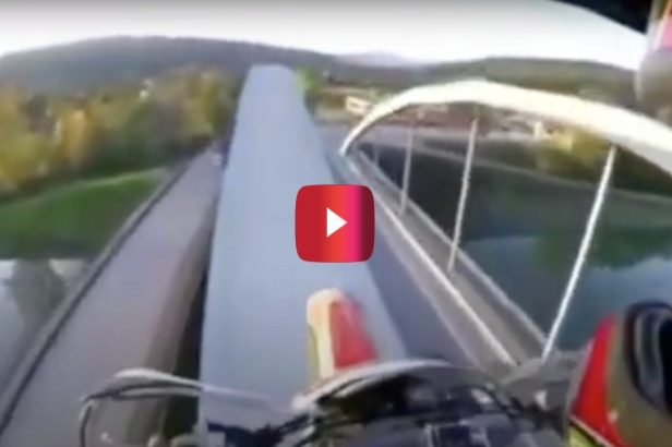 Dirt Biker Rides Over Bridge Arch Like an Absolute Maniac
