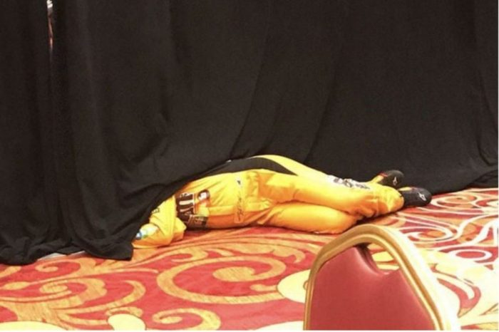 Kyle Busch Took a Little Snooze at the 2018 NASCAR Playoffs Media Day