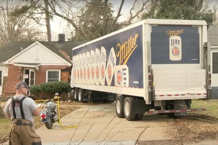 Miller Lite Truck Crashes Into North Carolina Home