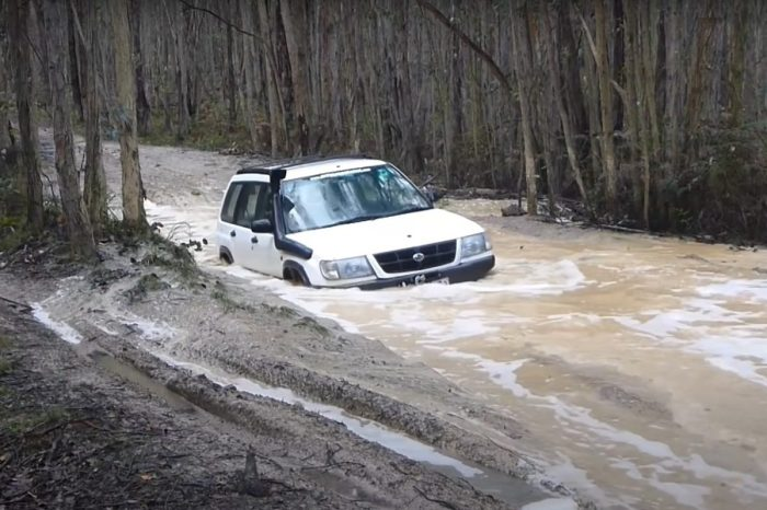 Subaru Forester Driver Takes on Treacherous Bog Hole and Barely Makes It