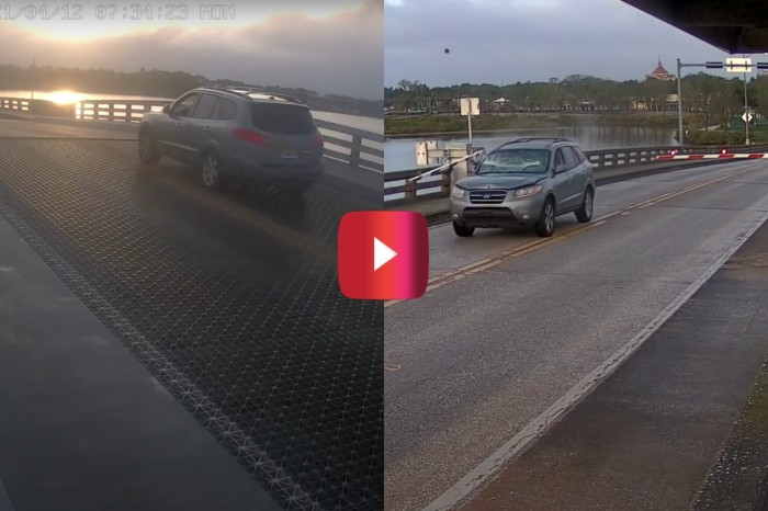 Wild Surveillance Footage Shows Driver Smashing Through Traffic Arm and Launching Over Drawbridge