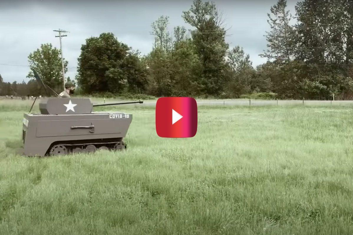 lawnmower turned into tank
