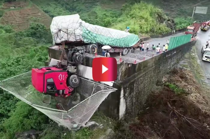 Semi Falls Off Runaway Ramp, But This Huge Net Saved 2 Lives