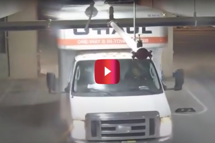 Driver Forces U-Haul Truck Into Parking Garage and Completely Wrecks Sprinkler System