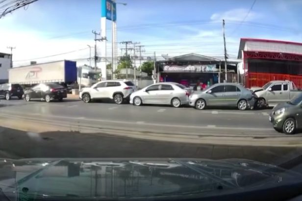 6-Car Rear-End Accident Gets Caught on Dashcam, and It's Almost Comical