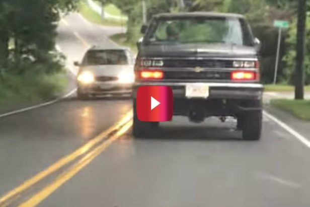 Backwards Chevy Truck Gets Caught on Video, and the Folks Filming Couldn't Believe It