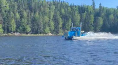 boat that looks like a semi truck