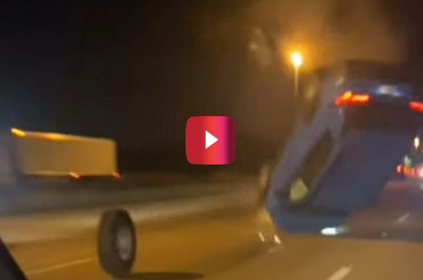 SUV Goes Flying After Hitting Tire, and It All Looked Like a Hollywood Stunt