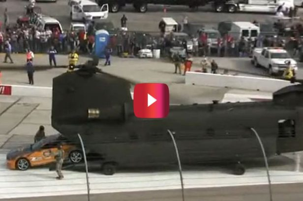 That Time a Chinook Helicopter Delivered a NASCAR Pace Car at Texas Motor Speedway