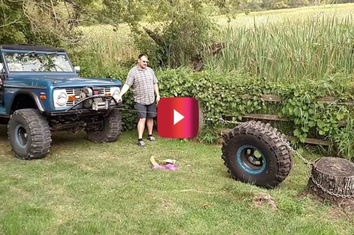 Man Removes Stump Using Ford Bronco, an Off-Road Winch, and a Spare Tire