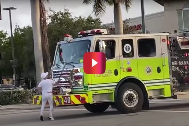 Unhinged Man Hits a Firetruck With a Baseball Bat, Before Getting Taken Down by Police