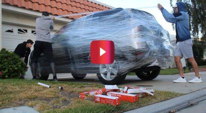 saran wrap car prank